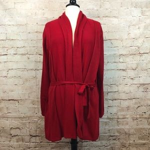 Zara Knit Red Belted Open Front Cardigan Sweater M